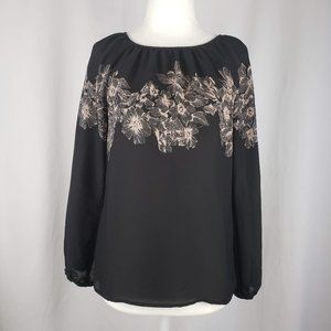 Loft Round Neck Black Peach Floral Blouse XSP